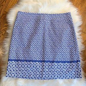 NWOT Talbots Blue & White Printed Pencil Skirt